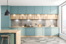 Green Kitchen With Counters An...