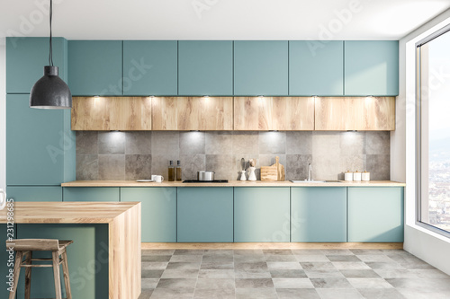 Fotografie, Obraz  Green kitchen with counters and bar
