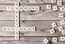 Business, Teamwork Spelled Fro...