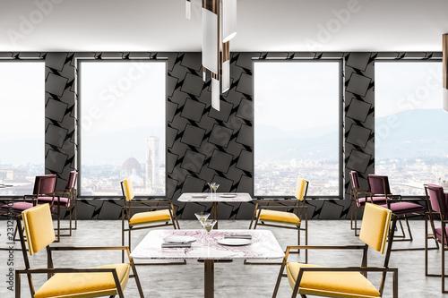 Plakat Szara restauracja, żółte krzesła