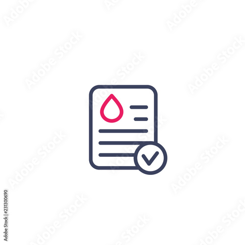 Fotografía blood test results icon, linear