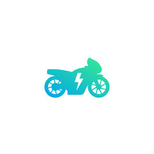 Electric Motorcycle Vector Icon On White