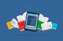 Modern Ebook Concept. Tablet W...