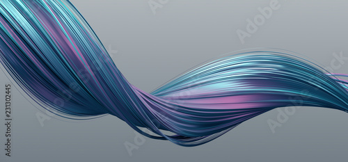 Fotobehang Abstract wave Abstract 3d rendering of twisted lines. Modern background design, illustration of a futuristic shape