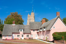 The Pink Cottages, In Front Of St Mary's Church, Cavendish