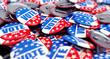 Leinwandbild Motiv vote election badge button for 2020 background, vote USA 2020, 3D illustration, 3D rendering