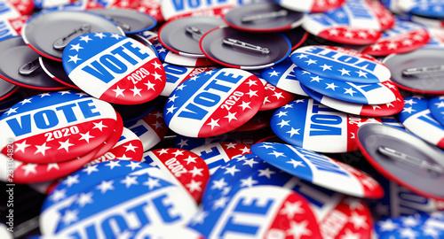 Fotografie, Obraz vote election badge button for 2020 background, vote USA 2020, 3D illustration,