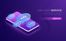 Live Chat Service, Social Media Communication, Chatting Isometric Concept