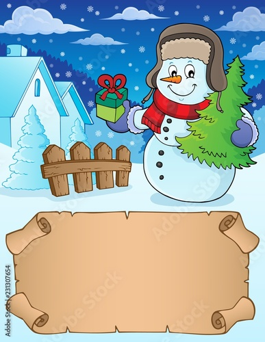 Tuinposter Voor kinderen Small parchment and Christmas snowman 1