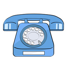 Pop Art Background Blue Old Phone On White For Your Offer. Vector Colorful Hand Drawn Illustration In Retro Comic Style.