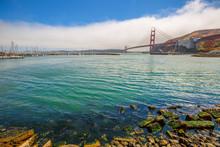 Sausalito Landscape Of Golden Gate Bridge From Presidio Yacht Club, North Shore, Horseshoe Bay, Sausalito, California, United States.