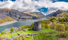 Aerial Of Dolbadarn Castle At Llanberis In Snowdonia National Park In Wales