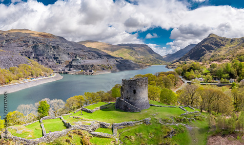 Photo Aerial of Dolbadarn Castle at Llanberis in Snowdonia National Park in Wales