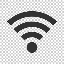 Wifi Internet Sign Icon In Flat Style. Wi-fi Wireless Technology Vector Illustration On Isolated Background. Network Wifi Business Concept.