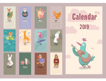 Cute Animals Retro Calendar For 2019 Year Vector Planner Illustration For New Year.