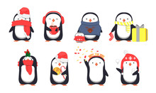 Set Of Cute Christmas Penguins. Vector Illustration