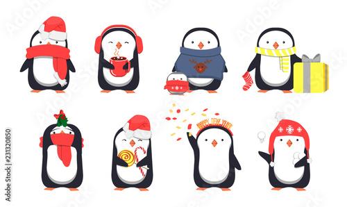 Obraz na plátne Set of cute Christmas penguins. Vector illustration
