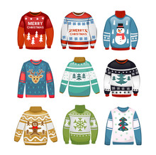 Ugly Sweaters Set. Christmas Sweaters Isolated On White Background. Vector Illustration