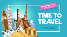 Travel Promo Banner Design For Travel Agency. Vector Illustration