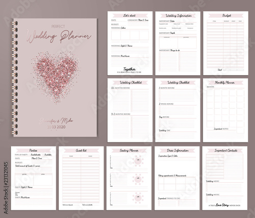 Obraz Wedding planner printable design with checklists, important date, notes etc. Vector illustration - fototapety do salonu