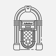 Retro Jukebox Flat Line Vector...