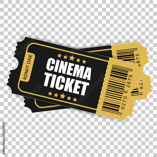 Realistic cinema ticket icon in flat style Wallpaper Mural