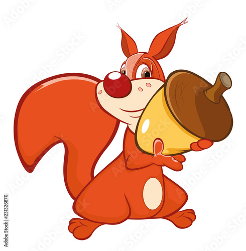 Illustration of a Cute Squirrel. Cartoon Character