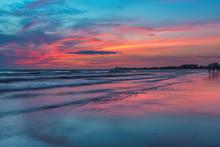 Pink Sunset At Siesta Key Beach, Gulf Mexico, Florida. USA