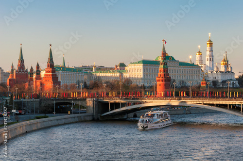 Moscow skyline with Moscow river, Kremlin Wall and towers. Moscow Russia.