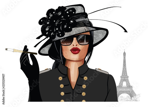 Spoed Foto op Canvas Art Studio Woman with sunglasses and hat