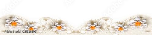 Foto op Canvas Bloemen Panoramik Beyaz Çiçek