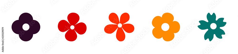 Fototapeta Flower icons set. Flowers in flat design. Early spring flowers