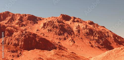 Tuinposter Baksteen Mars landscape, 3d render