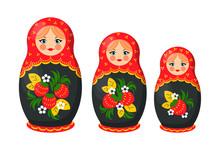 Matryoshka Nesting Doll Set Vector Illustration