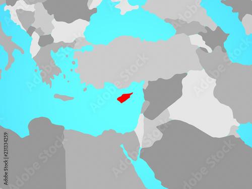 Cyprus on blue political globe.