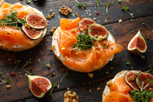 Salmon Bagel Sandwich With Fig...