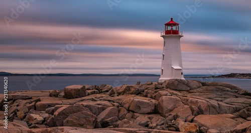 Leinwand Poster Peggys Cove Lighthouse long exposure