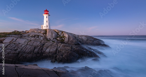 Peggy Cove Lighthouse after sunrise