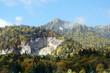 Romanian Carpathian Mountains with autumn trees.