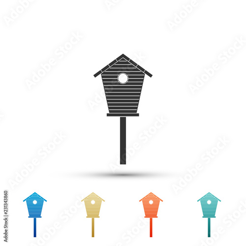 Fototapeta Bird house icon isolated on white background. Nesting box birdhouse, homemade building for birds. Set elements in colored icons. Flat design. Vector Illustration obraz
