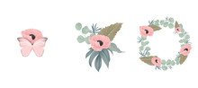 Floral Bouquet Composition Set, Pink Poppy Flowers And Leaves
