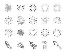 Set Of Firework Line Icons