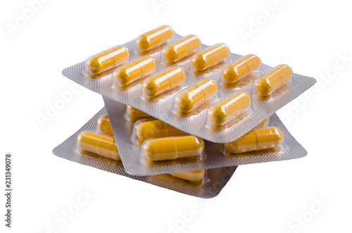 Photo Medical yellow capsules