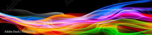 Deurstickers Abstract wave Panoramik Işık Yansıma Koyu