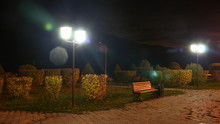 Night Park. Street Lamp And Be...