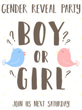 Invitation Card Template With The Inscription Boy Or Girl With Cute Birds On A Yellow Background. Vector Illustration For Gender Reveal Party. Ð¡oncept Of Holiday, Pregnancy, Motherhood