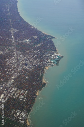 Aerial view of the campus of Northwestern University in