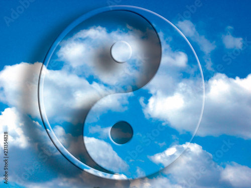 Fotografie, Obraz  yin yang symbol over blue cloudy sky like concept oriental china philosophy