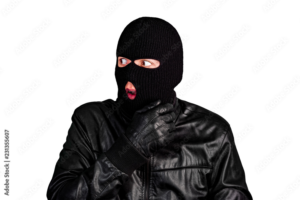 Fototapeta Thief in a mask scared, isolated on a white background