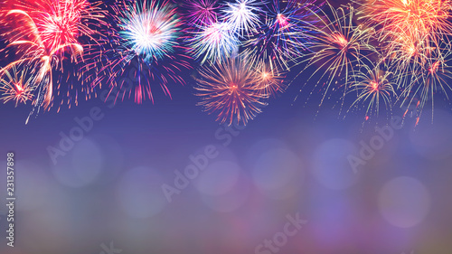 Fotografie, Obraz  Colorful firework background 8
